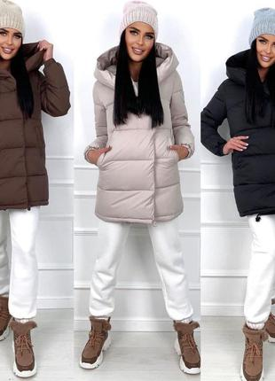 Стёганная удлиненная куртка зефирка с высоким воротником и капюшоном плащевка на силиконе