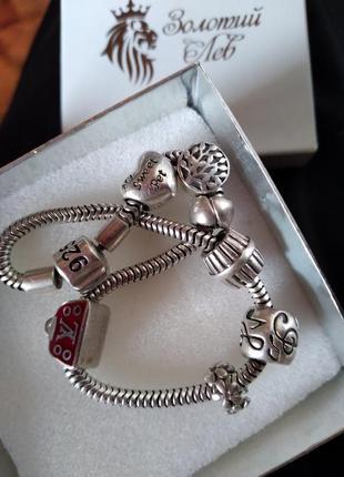 Серебрянный браслет с шармами