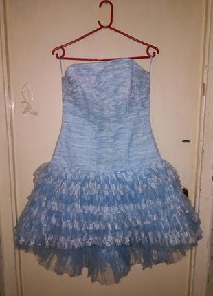 Новое,очень красивое,голубое,гипюровое,корсетное,коктейльное платье-пачка