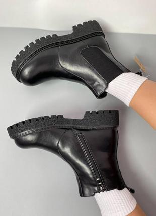 Женские кожаные зимние ботинки челси/натуральная кожа.