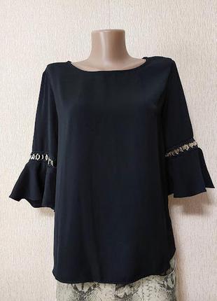 Красивая черная женская кофта, блузка рукав воланы river island