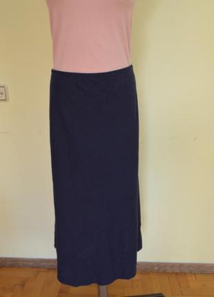 Красивая классическая базовая юбка лен 55%+вискоза талия на резинке marks&spencer