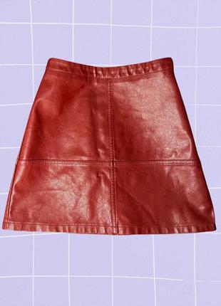Красная короткая мини юбка трапеция под кожу