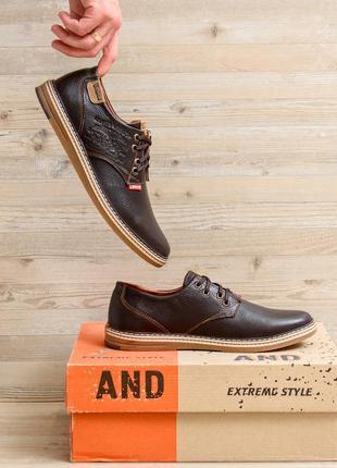 Мужские кожаные туфли levis stage1 chocolate