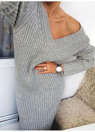 Объемное вязаное серое платье, нежный серый меланж от new york downtown