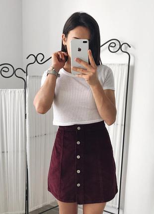 Шикарная вельветовая юбка с заклёпками спідниця 14 размер