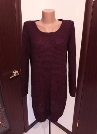 Удлиненный теплый свитер/джемпер 14-16рр.