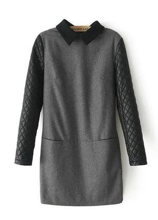 Теплое серое короткое платье черными кожаными рукавами черным воротником фетр плотное