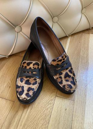 Кожаные лоферы туфли лодочки ботинки мокасины броги оксфорды балетки лофери шкіряні с принтом тигровые