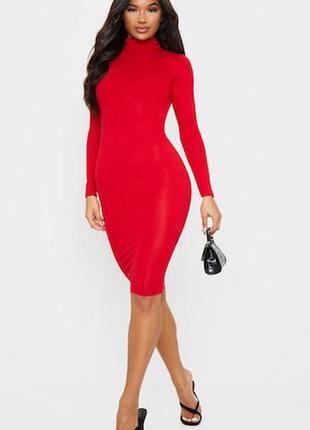 Крассное платье под горло с длинным рукавом от prettlittlething!