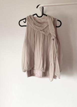 100% шовк блуза/ топ пудрового кольору