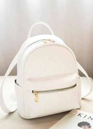 Женский базовый рюкзак в фирменном стиле эко кожа aliri-00279 белый