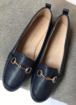 Лоферы dorothy perkins туфли синие офисные осенние эко кожа