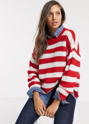 Актуальный свитер оверсайз в ярко-красную полоску asos brave soul красный полосатый джемпер oversize