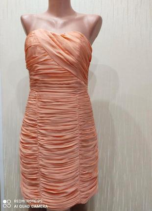 Красивое нарядное персиковое платье бюстье h&m