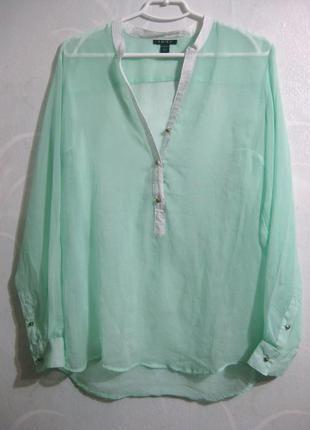 Нежная полупрозрачная бирюзовая блузка amisu