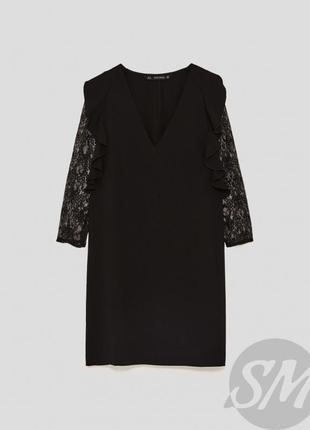 Zara зара платье чёрное прямое трапеция с рукавом гипюр оверсайз свободное