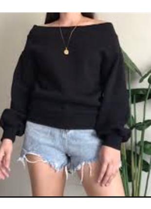🌿1+1=3 фирменный черный свитер свитшот h&m, размер 46 - 48