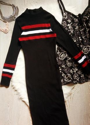 Черное натуральное длинное макси платье гольф водолазка с рукавами в обтяжку рубчик в пол