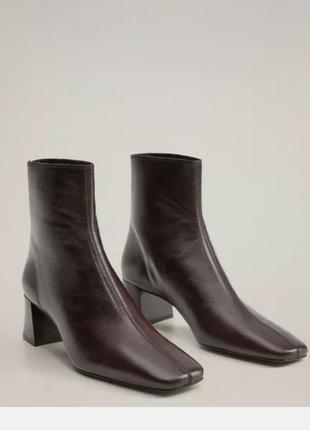 Ботильоны mango на каблуке. бордовые ботинки с квадратным носком. трендовые ботильоны. 41 размер
