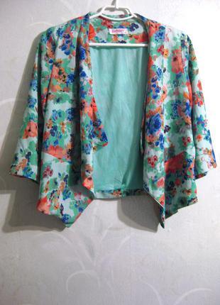 Яркий голубой пиджак накидка mgn moda girls nice с цветочным принтом