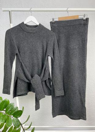 Шерстяной серый костюм кофта + юбка