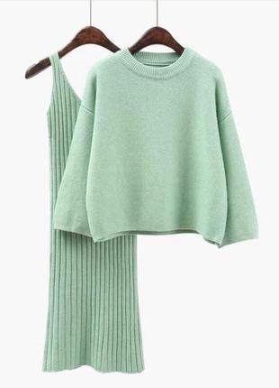 Костюм платье теплое в рубчик свитер кофта батник сукня