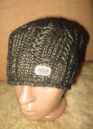 Ультрамодная,красивая,теплая шапка-бини вязаная перламутр(платиновый).