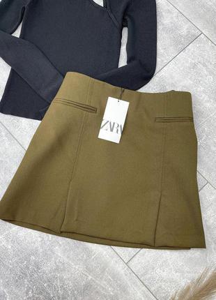 Теплая мини юбка хаки