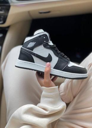 ❄️ зимние женские, мужские кроссовки на меху nike air jordan 1 black/white