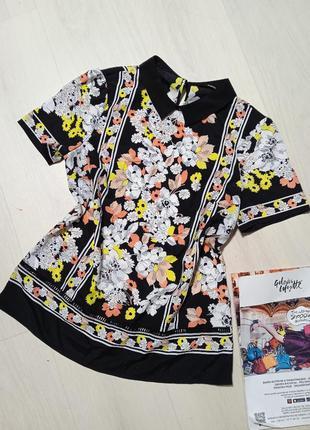 Блуза с воротником цветочный принт