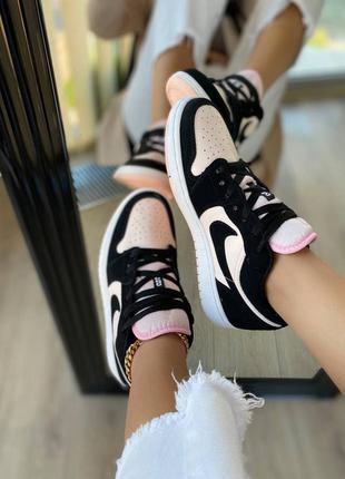 Кросівки nike air jordan 1 low black / pink