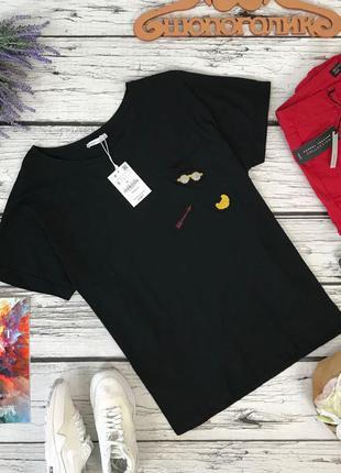 Базовая футболка с прикольными нашивками zara  ts5153