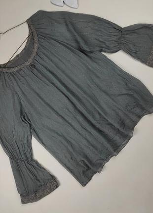 Блуза шелковая итальянская изящная с паетками