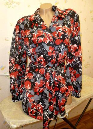 Шикарная винтажная блузка под пояс с длинными рукавами в цветах