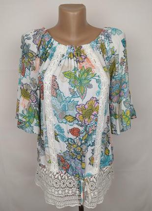 Блуза новая натуральная в принт с кружевом next uk 10/38/s