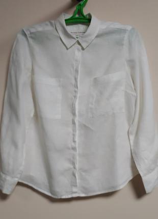 Белая льняная рубашка marks & spenser