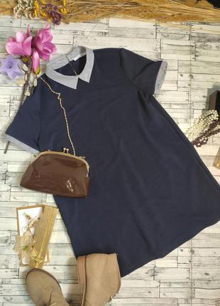 Платье миди синее офисное с воротником короткий рукав s zara