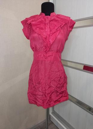 Шикарное шелковое мини платье с оборками🌺