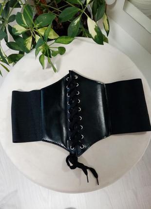 Новый стильный чёрный широкий пояс корсет спереди на шнуровке