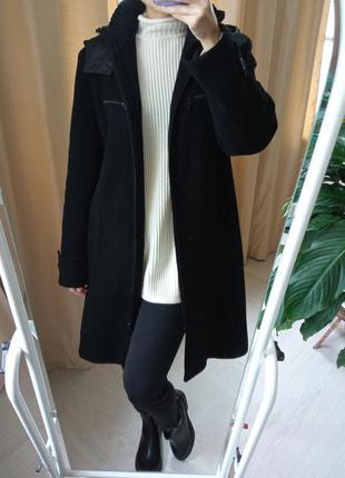 Пальто из шерсти с капюшоном🔥