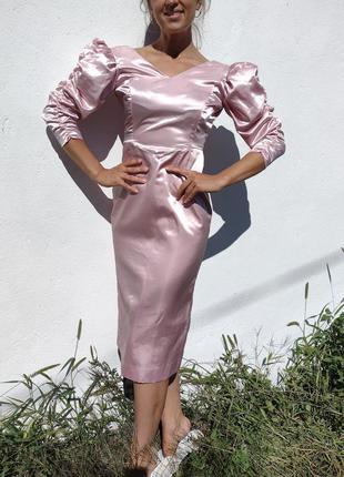Шикарное миди платье футляр рукава фонарики розовое атласное