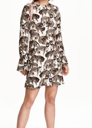 Белое цветное натуральное платье с принтом рисунок леопард длинный рукав короткое миди
