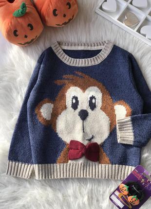 Тёплый детский свитер с мартышкой 🐵🎀