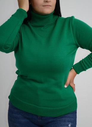Гольф женский базовый, зеленый, водолазка, шерсть акрил, с-м, л-хл, хл-ххл, 44-46, 48-50, 52, батал