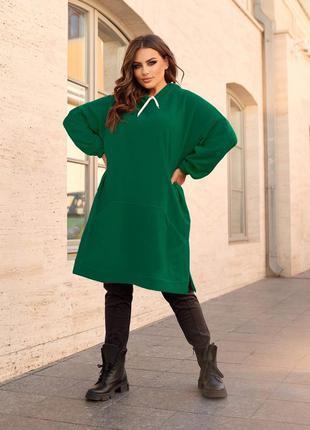 Платье туника зелёный цвет