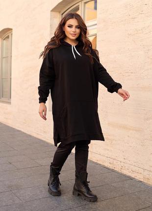 Платье туника черный цвет