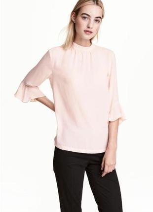 Нежно розовая блуза с красивыми рукавами h&m