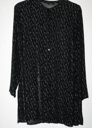 Блуза длинная черная с серебряной нитью