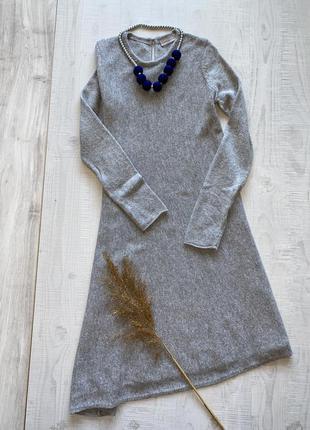 Шерстяное серое платье stefanel